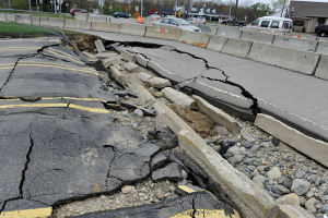 Road damage in Warwick, Rhode Island, resulting from historic storms in March 2010