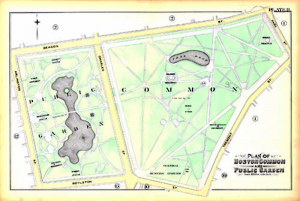 "A map of the Boston Common and Public Garden, circa 1890. This is the kind of ""common"" referred to in the tragedy of the commons."