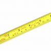 A tape measure calibrated in both feet/inches and meters/centimeters