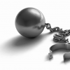 A ball and chain, with shackle