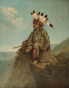 """The Young Chief Uncas,"" 1869 chromolithograph by John Mix Stanley (1814–1872)"