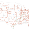 A map of the U.S. Interstate Highway System